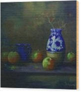Apples With Vase Wood Print