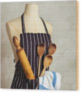 Apron With Utensils Wood Print