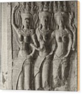 Apsaras Of Angkor Wat Wood Print