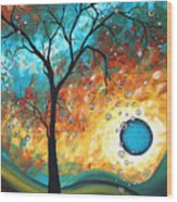 Aqua Burn By Madart Wood Print by Megan Duncanson