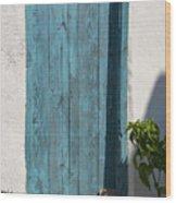 Aqua Door Textures Wood Print