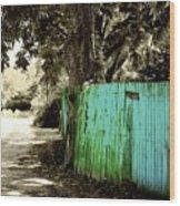 Aqua Fence Wood Print