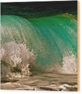 Aqua Green Wave Wood Print