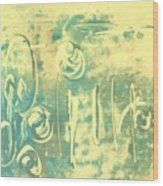 Aqua Monotype Wood Print