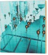 Aqua Reflections Wood Print