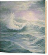Aqua Sea Wood Print
