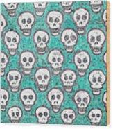 Aqua Skull Pattern Wood Print
