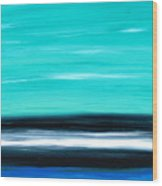 Aqua Sky - Bold Abstract Landscape Art Wood Print by Sharon Cummings