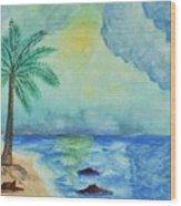 Aqua Sky Ocean Scene Wood Print