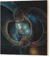 Aqua Wormholes Wood Print
