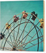 Aquamarine Dream - Ferris Wheel Art Wood Print