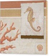 Aquarius I Coral Square Wood Print
