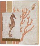 Aquarius II Coral Square Wood Print