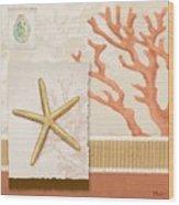 Aquarius Iv Coral Square Wood Print