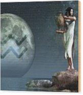 Aquarius Zodiac Symbol Wood Print