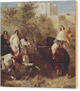 Arab Horsemen Wood Print by Eugene Fromentin