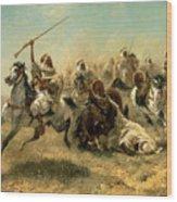Arab Horsemen On The Attack Wood Print by Adolf Schreyer