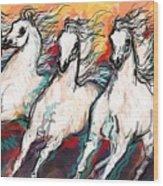 Arabian Sunset Horses Wood Print
