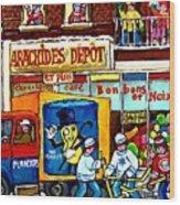Arachides Depot Candy Shop Painting Rue De L'eglise Verdun Montreal Hockey Art Carole Spandau        Wood Print