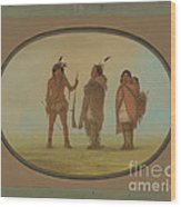 Arapaho Chief, His Wife, And A Warrior Wood Print