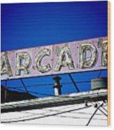 Arcade Vintage Sign Wood Print