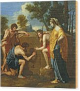 Arcadian Shepherds Wood Print by Nicolas Poussin