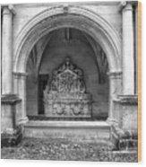 Arch At Fontevraud Abbey Bw Wood Print