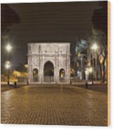 Arch At Night Wood Print