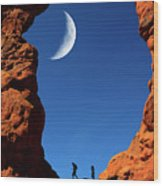 Arch In Canyon Rock Formations Silhouetter Of Hiker Wood Print