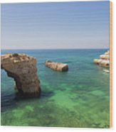 Arch Of Albandeira Beach Wood Print