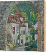 Arch Of Saint-cirq-lapopie Wood Print