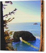 Arch Rock Reflection Wood Print