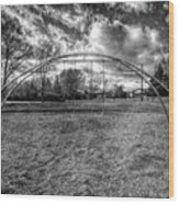 Arch Swing Set In The Park 76 In Black And White Wood Print