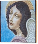 Archangel Contemplating The Holy Child Wood Print