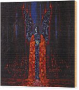 Archangel Evokes Through Nights Womb Wood Print