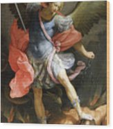 Archangel Michael Defeating Satan Wood Print