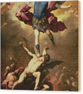 Archangel Michael Overthrows The Rebel Angel Wood Print by Luca Giordano