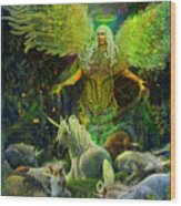 Archangel Raphael Protector Of Unicorns Wood Print