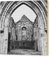 Athassel Priory Tipperary Ireland Medieval Ruins Decorative Arched Doorway Into Great Hall Bw Wood Print