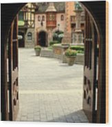 Arched Doorway With A Bavarian View Wood Print