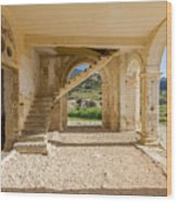 Arches, Entrance And Stairs Of Derelict Agios Georgios Church Wood Print