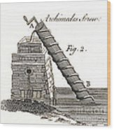 Archimedes Screw, 1769 Wood Print