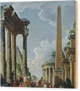 Architectural Capriccio With A Preacher In The Ruins Wood Print