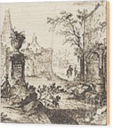 Architectural Fantasy With Roman Ruins Wood Print