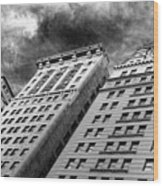 Architecture Tall Buildings Bw Nyc  Wood Print