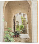 Archway And Stairs In Italy Wood Print