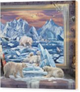 Arctic Bears Coming Wood Print