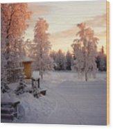 Arctic Homestead Wood Print