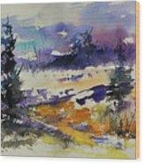 Ardennes Landscape Watercolor Wood Print