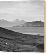 Ardnamurchan Landscape Toward The Islands Of Eigg And Rhum.    Black And White Wood Print